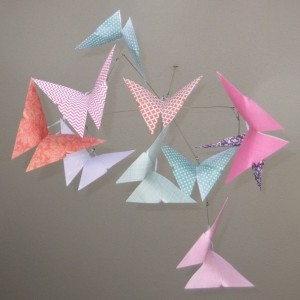 Patterned Whimsy Origami Butterfly Mobile, Baby Mobile, Butterfly Mobile, Crib Mobile, Nursery Decor, Butterly Decor, Origami Butterfly