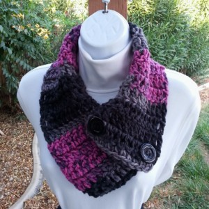 Black Gray Grey Raspberry Pink NECK WARMER SCARF with Large Black Buttons, Soft Acrylic Crochet Knit, Women's Buttoned Cowl Scarflette..Ready to Ship in 3 Days