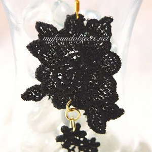 Lace Flower Statement Earrings, Black/Gold