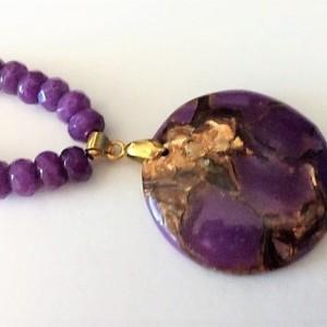 Rondelle Purple Beaded Necklace, Purple Agate Pendant Necklace