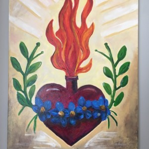 Sacred Heart of Jesus Tattoo style acrlic painting on canvas -free shipping