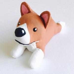 Handmade Clay Corgi Dog Canine Polymer Brown white Puppy sculpture figurine Totem