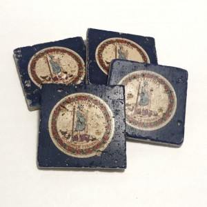 Virginia State Flag Natural Stone Coasters, Set of 4 with Full Cork Bottom