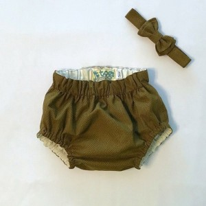 Hazel Brown Herringbone Print Diaper Cover and Bow Tie set for Infants to 24 Months