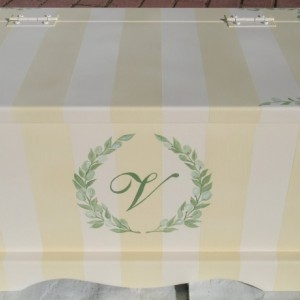 Baby Keepsake Chest Memory Box - Cream Stripe Monogram Wreath featured on The Cake Boss