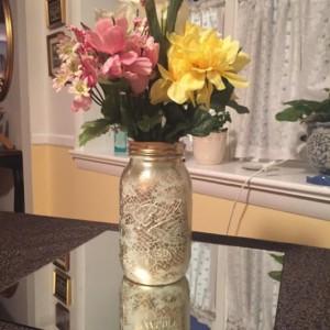 Hand Painted Ivory And Gold Lace Overlay Quart Size Mason Jars