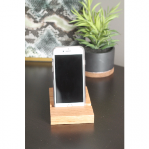 Free Shipping! Oak Cell Phone Dock | Personalized Custom Engraving | Desktop Holder Droid Charging Station