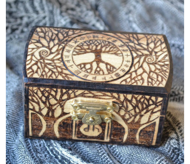 Tree of Life Jewelry Stash Box with Ogham Runes Or Elder Futhark Runes
