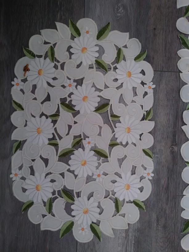 Vintage, Handmade, Drawn thread work, Elegant and beautiful table runner