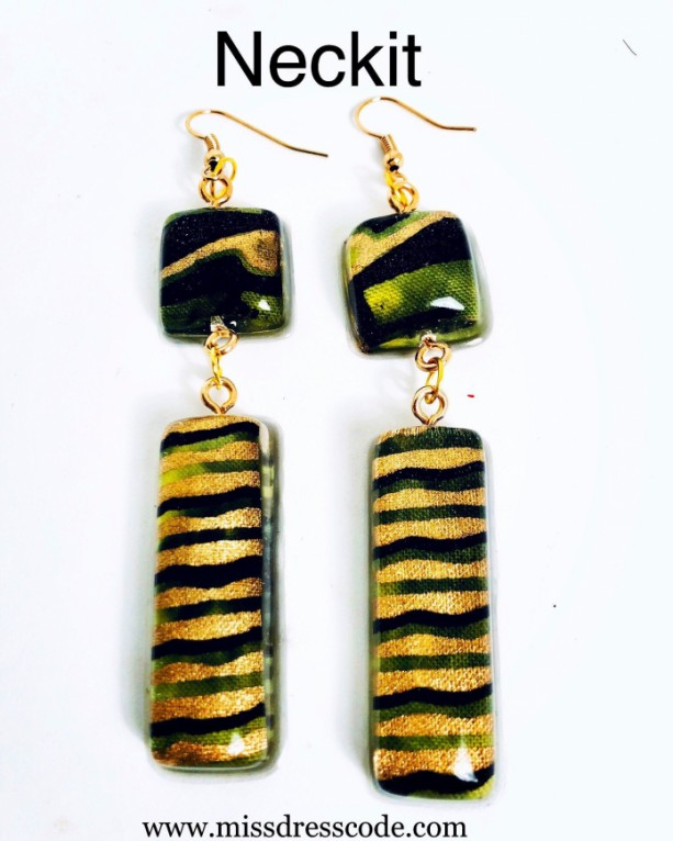 Resin African Print Fabric Dangle Earrings