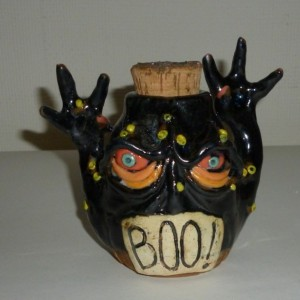 Handmade Clay Small Boo Monster Creature Spice Jar by Artist Judhe Jensen Kansas