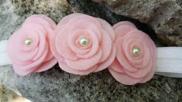 Pink  Wool felt flower headband