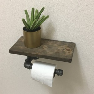 Industrial Steel Pipe Toilet Paper Holder with Rustic Shelf.  Farmhouse Bathroom Paper Roll Dispenser.