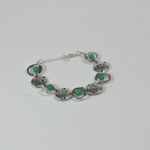 Adjustable Sand dollar and Green Aventurine Bracelet