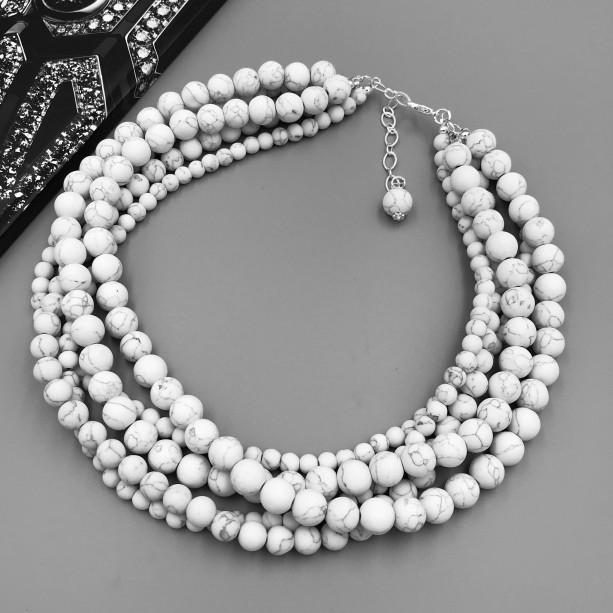 Chunky White Howlite Necklace, White Chunky Necklace, White Beaded Necklace, White Necklace, Multi Strand White Statement, Chunky White