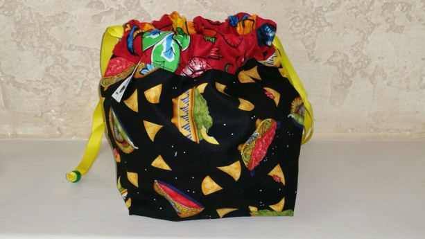 Small Knitting Project Bag- black chili exterior