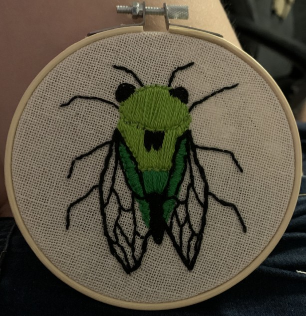 Hand Stitched Cicada Embroidery
