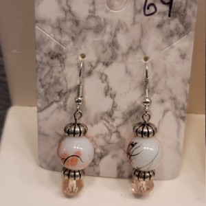 Pink and white bead with silver accent earrings