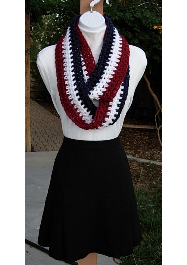 Red White And Blue Crochet Infinity Scarf Aftcra