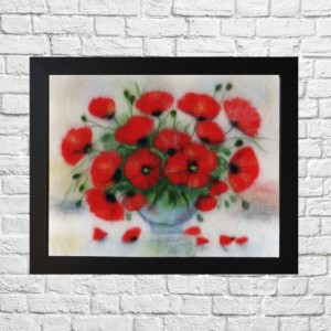 "Wool Painitng ""Bouquet of poppies"""
