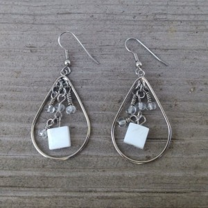 SOLD -Wire Wrapped Silver Seed Bead and White Square Shell Chandelier Dangle Earrings