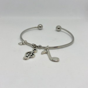 Music Notes and Heart Bangle Charm Bracelet - Musician Charms Jewelry