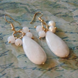 White Stone Rounds Teardrop Stone Gold Toned Dangle Drop Earrings