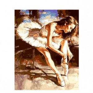 Ballet dancer tying shoelacespainting