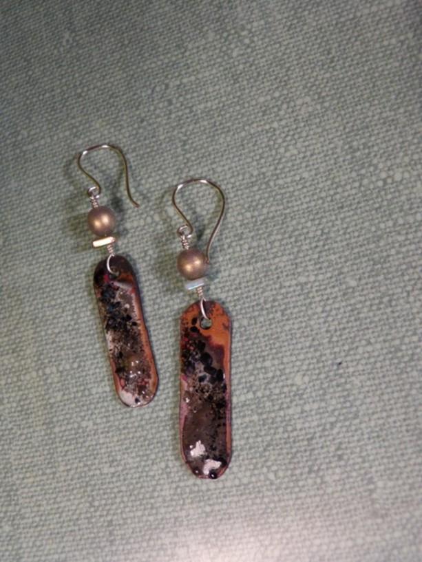 Enameled, pearl earrings