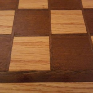 Chessboard made from oak and ipe with black walnut inlays