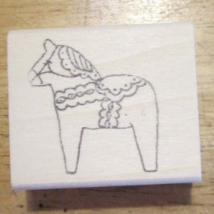 Dala Horse Medium 1 1/2 inch rubber stamp artist signed Sweden
