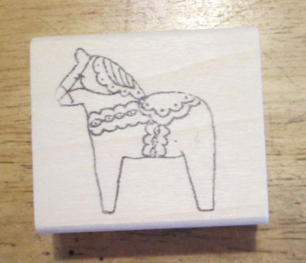 Dala Horse Medium 1 1/2 inch rubber stamp artist signed Sweden