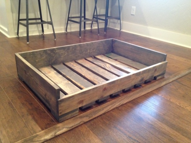 Solid wood quotpallet stylequot dog bed aftcra for Bed frame with dog kennel