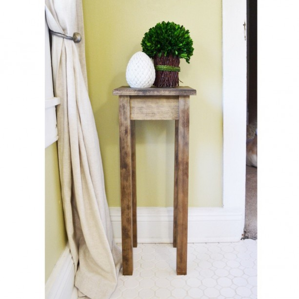 The Tee Dark Walnut Stained Pine Side Table Nightstand Pot