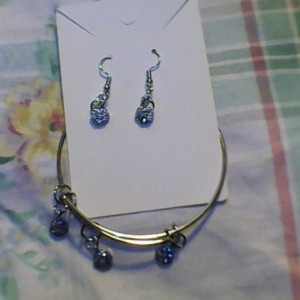 Homemade Earring and Bangle Bracelet set. Silver and Rhinestone diamond.