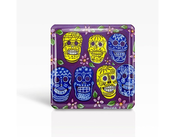 "Mexican Folk Art- Day of the Dead/SUGAR SKULLS - Glass MAGNET By Artist A.V.Apostle- 2""x 2"""