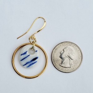 Classic blue and gold dangle earrings