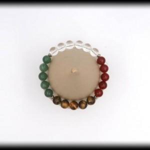 Quartz, Carnelian, Tigers Eye, Green Aventurine Bracelet