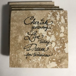 Custom Coasters-Non Stick Coasters-Personalized Coasters-Cherish, Live, Dream Coasters-Travertine Tile Coasters-Drink/Barware-Housewarming