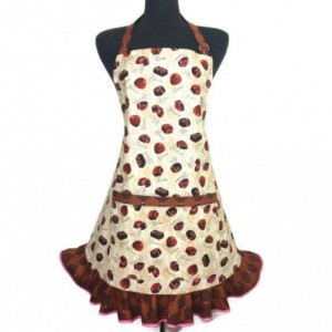 Ruffled Apron for Women , Chocolate Truffles , Candies , Retro Kitchen Decor