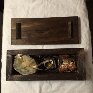 Hand-made pinewood jewelry box