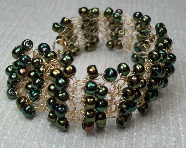 Metallic Green Cuff Bracelet Seed Bead Vintage Boho Wedding Bracelet Flapper Steampunk Handcrocheted Gold Plated Wire Green Garden Wedding