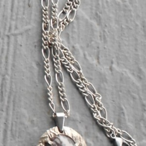 Nickel Silver Metal Clay Pendant with Natural Abstract Patterned Outback Jasper