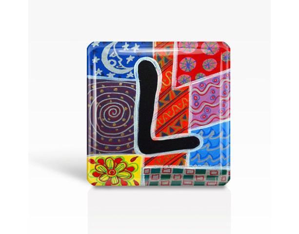 "ALPHABET Letter ""L"" - Glass MAGNET By Artist A.V.Apostle- 2""x 2"""