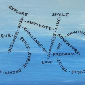"""Explore, Smile, Love"" original painting"