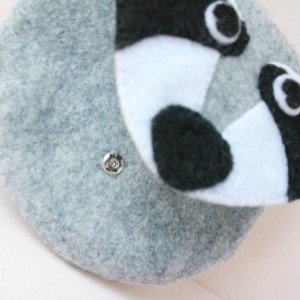 Raccoon Wool Felt Purse