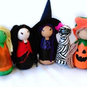 Halloween - Halloween dolls - Halloween gift - Halloween toy - Halloween witch - Vampire doll - Halloween peg people - Peg dolls - Zombie