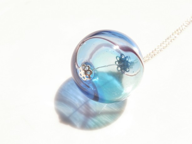 Necklace Aqua and Blue Color Hollow Glass Beads Handmade Hand Blown Bubble Dot