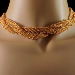 Gold Czech glass snaking twist beaded choker. Gold Czech glass twisted choker. gold beaded choker. metallic gold choker
