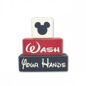 Wash your hands Mickey Minnie primitive wood sign blocks distressed rustic decor Disney bathroom Mickey bath